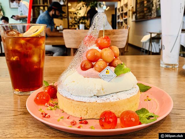 【恵比寿】カフェ アクイーユ「さくらんぼレアチーズパンケーキ」-07